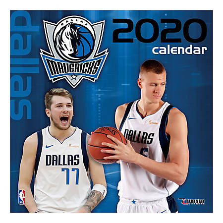 "Turner Licensing Monthly Wall Calendar, 12"" x 12"", Dallas Mavericks, 2020"