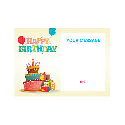 Flat Photo Greeting Card Birthday Cake