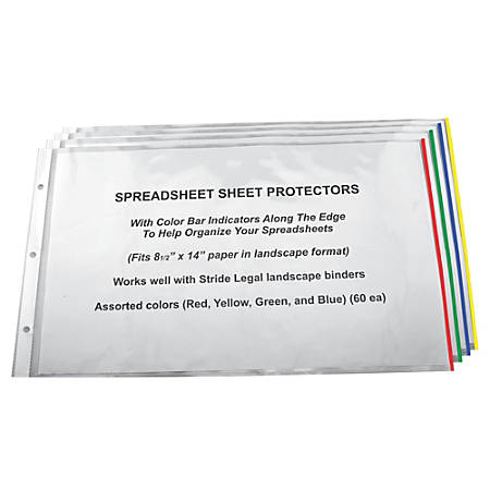 "Stride Easy-Fit Color Bar Sheet Protectors, 8 1/2"" x 14"", Assorted Colors, Pack Of 60"