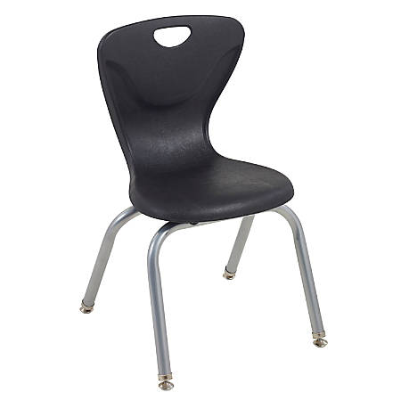 "ECR4Kids Contour Stacking Chairs, 25 13/16""H, Black/Silver, Set Of 4"
