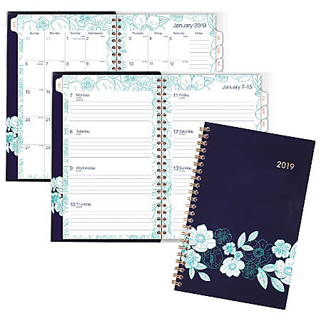 """Cambridge® Customizable Weekly/Monthly Planner, 4 7/8"""" x 8"""", Midnight Magnolia, January 2019 to December 2019"""