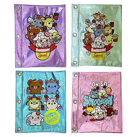 """Inkology Smooshy Mushy Binder Pencil Pouches, 9-1/2"""" x 7-1/2"""", Assorted Designs, Set Of 8 Pouches"""