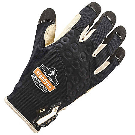 Ergodyne ProFlex 710LTR Heavy-Duty Leather-Reinforced Gloves, Large, Black