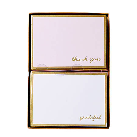 """Sincerely A Collection by C.R. Gibson® Double-Pack Note Cards With Envelopes, 4 7/8"""" x 3 1/2"""", Blush/White, Box Of 16"""