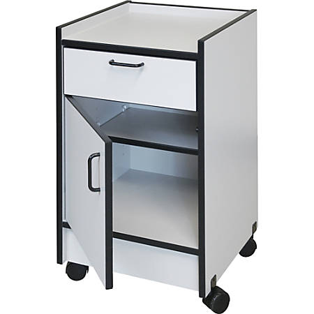 "Hausmann Drawer and Cabinet Mobile Cart - 18.5"" x 18.5"" x 30"" - 1 x Drawer(s) - 180 lb Load Capacity - Rounded Edge, Swivel Casters - Gray - Laminated"