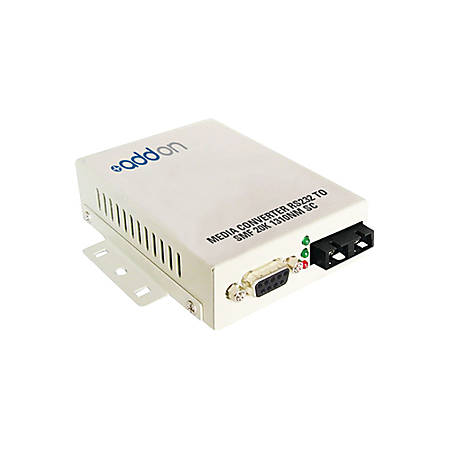 AddOn Serial RS232 to Fiber SMF 1310nm 20km SC Serial Media Converter - 100% compatible and guaranteed to work