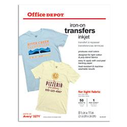 office depot brand light fabric inkjet iron on transfers 8 12