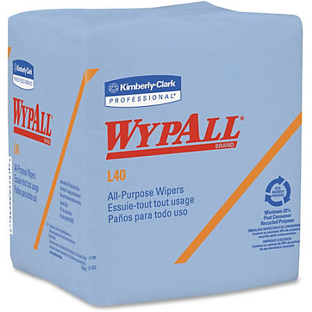 "Wypall L40 1/4-fold Wipers - 12"" x 12.50"" - Blue - Absorbent, Wet Strength, Reinforced, Quad-fold, Soft - For Face, Hand - 56 Sheets Per Pack - 672 / Carton"