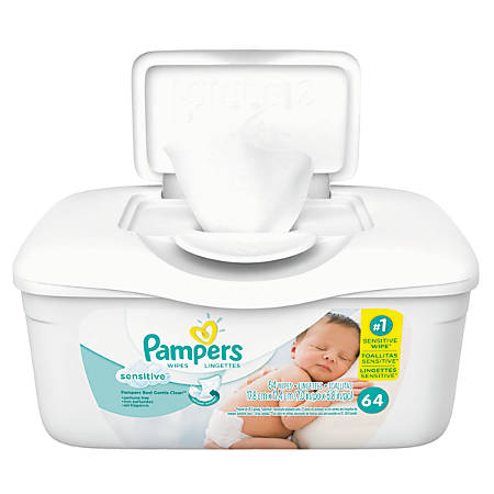 Pampers Sensitive Baby Wipes Unscented 64 Wipes Per Tub
