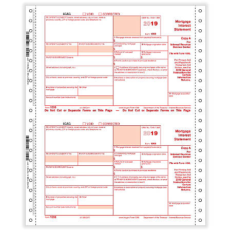 "ComplyRight™ 1098 Tax Forms, Continuous, Copies A, State, B and C, 4-Part, 9"" x 11"", Pack Of 100 Forms"