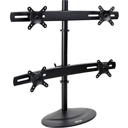 "Tripp Lite Quad Display TV Desk Mount Monitor Stand Swivel Tilt 10"" to 26"" Flat Screen Displays - 120 lb Total Load Capacity - Metal - Black"