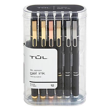 TUL® Retractable Gel Pens, Medium Point, 0.7 mm, Black Barrel, Black Ink, Pack Of 12 Pens