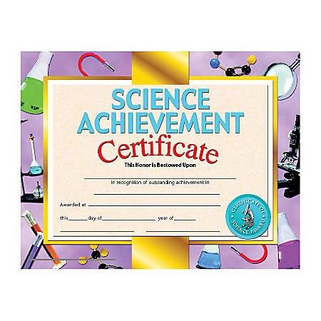 "Hayes Science Achievement Certificates, 8 1/2"" x 11"", Multicolor, 30 Certificates Per Pack, Bundle Of 6 Packs"