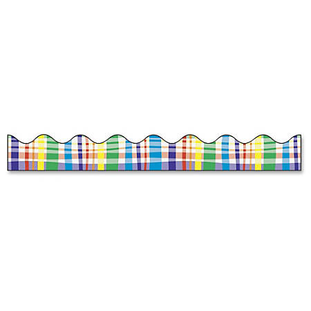 "Bordette Decorative Border - Perfectly Plaid Design - 2.25"" x 25' - 1 Roll/Pkg"
