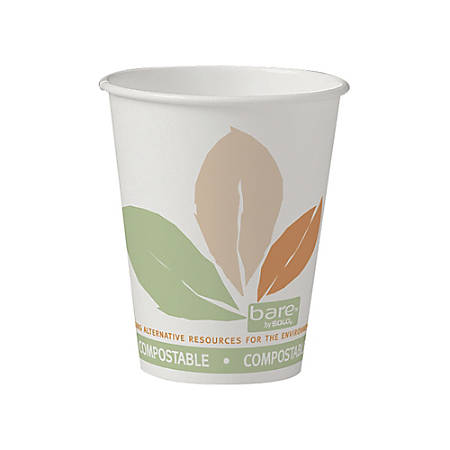 Solo® Bare™ 100% Recycled PLA Lined Paper Hot Cups, 8 Oz., Case Of 1,000