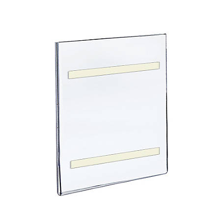 "Azar Displays Acrylic Sign Holders With Adhesive Tape, 10"" x 8"", Clear, Pack Of 10"