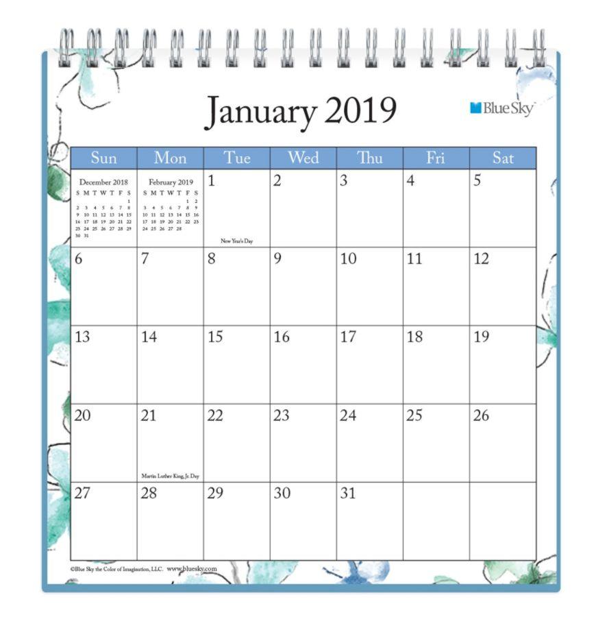 Blue Sky Monthly Desk Calendar 6 X 6 Lindley January To December