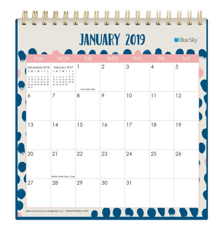 Blue Sky Monthly Desk Calendar 6 X 6 Finger Print January To
