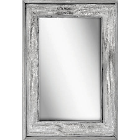 "PTM Images Framed Mirror, Bone Wood, 36""H x 24""W, Stone Gray"