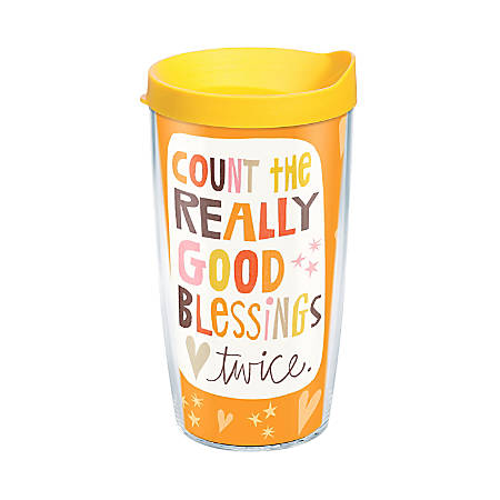 Tervis Hallmark Good Blessings Tumbler With Lid, 16 Oz, Clear