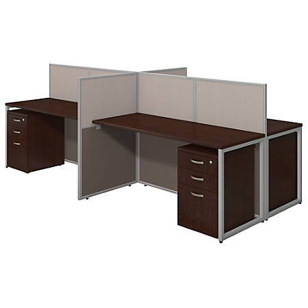 """Bush® Business Furniture Easy Office 4-Person Straight Desk Open Office With Four 3-Drawer Mobile Pedestals, 44 7/8""""H x 60 1/25""""W x 119 9/100""""D, Mocha Cherry, Standard Delivery"""