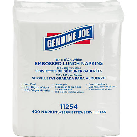 """Genuine Joe 1-ply Embossed Lunch Napkins - 1 Ply - Quarter-fold - 13"""" x 11.25"""" - White - Embossed, Versatile, Soft - For Lunch - 400 Quantity Per Pack - 400 / Pack"""