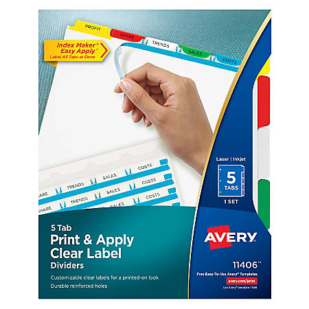 Avery® Print & Apply Clear Label Dividers With Index Maker® Easy Apply™ Printable Label Strip And Color Tabs, 5-Tab, Multicolor, 1 Set