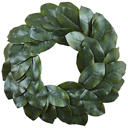 "Nearly Natural Polyester Magnolia Leaf Wreath, 24"", Green"