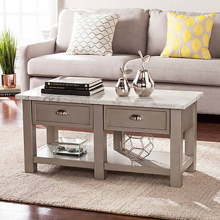 Southern Enterprises Youngston Faux Marble Cocktail Table, Rectangular, White/Gray/Nickel