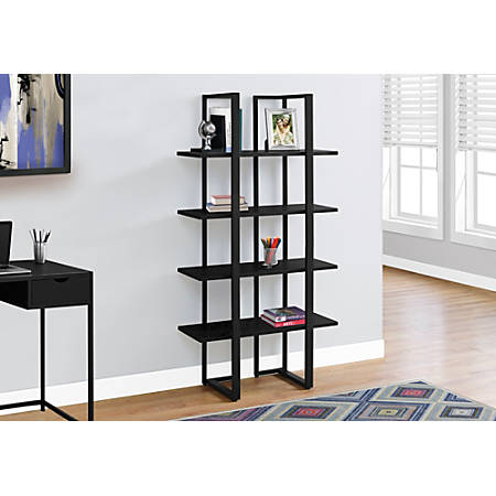 Monarch Specialties 4-Shelf Metal Bookcase, Black