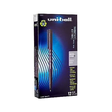 uni-ball® Onyx® Rollerball Pens, Micro Point, 0.5 mm, Black Barrel, Black Ink, Pack Of 12