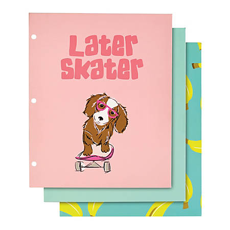 """Divoga® 2-Pocket Paper Folder, Happy Thoughts Collection, 8 1/2"""" x 11"""", Letter Size, Assorted Designs"""