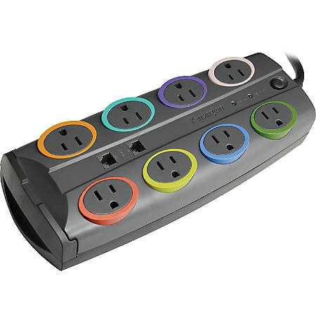 Kensington SmartSockets Color-Coded Eight-Outlet Adapter Model Surge Protector