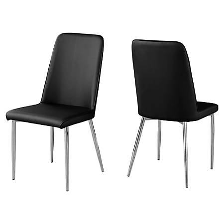 Monarch Specialties Aaliyah Dining Chairs, Black/Chrome, Set Of 2 Chairs