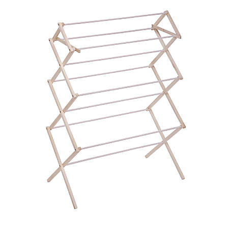 "Honey-Can-Do Large Wood Clothes Drying Rack, 41 1/2""H x 15""W x 22 1/2""D, Natural/White"