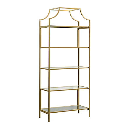 "Sauder® International Lux 71""H 5-Shelf Bookcase, Satin Gold"
