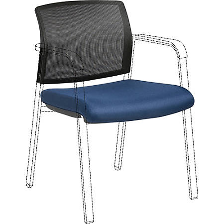 Lorell Stackable Chair Mesh Back/Fabric Seat Kit - Black, Navy - Fabric - 1 Each