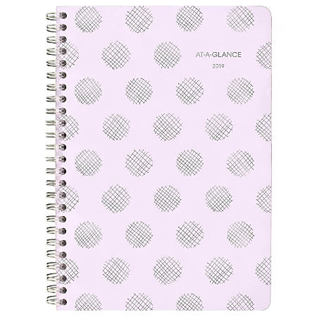 """AT-A-GLANCE® Dot 13-Month Weekly/Monthly Appointment Book/Planner, 4 7/8"""" x 8"""", Purple, January 2019 to January 2020"""