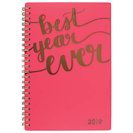 """Cambridge® Aspire Weekly/Monthly Planner, 4 7/8"""" x 8"""", Coral, January to December 2019"""