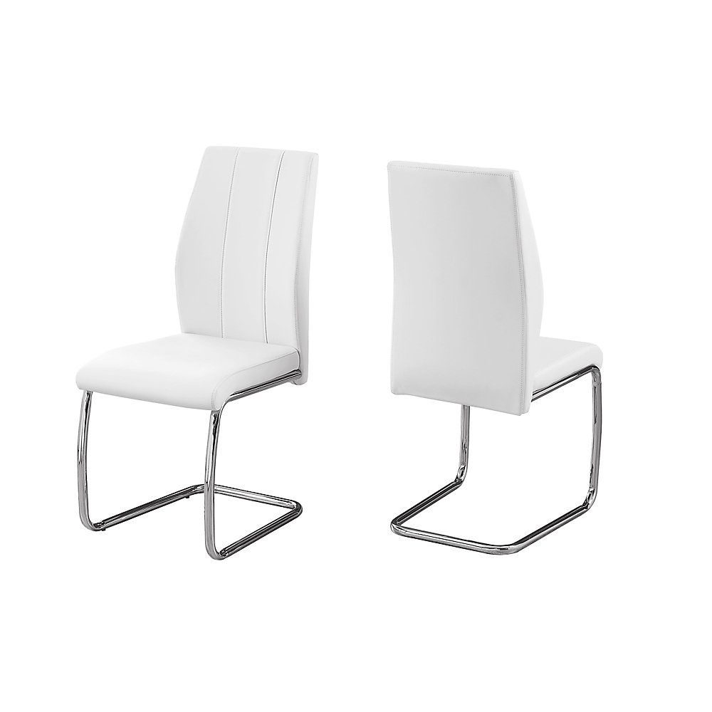 Monarch Specialties Sebastian Dining Chairs, White/Chrome, Set Of 2 Chairs