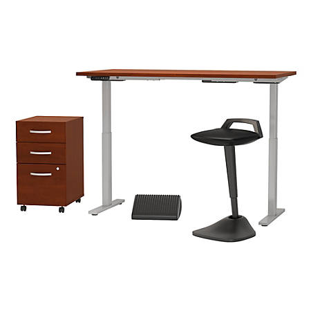 """Bush Business Furniture Move 60 Series 60""""W x 30""""D Adjustable Standing Desk with Lean Stool Storage and Ergonomic Accessories, Hansen Cherry, Standard Delivery"""