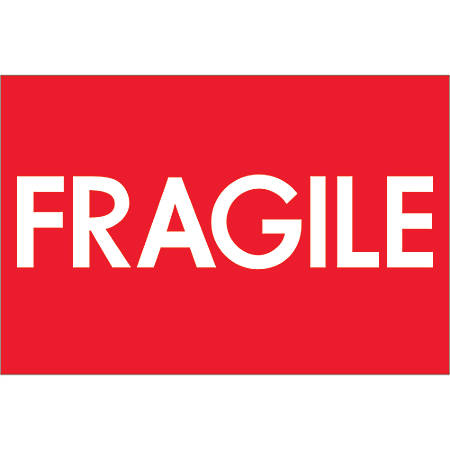"Tape Logic® Preprinted Shipping Labels, DL1081, Fragile (High Gloss), Rectangle, 2"" x 3"", Red/White, Roll Of 500"