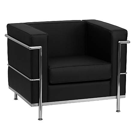 Flash Furniture HERCULES Regal Series Contemporary Leather Chair, Black/Silver