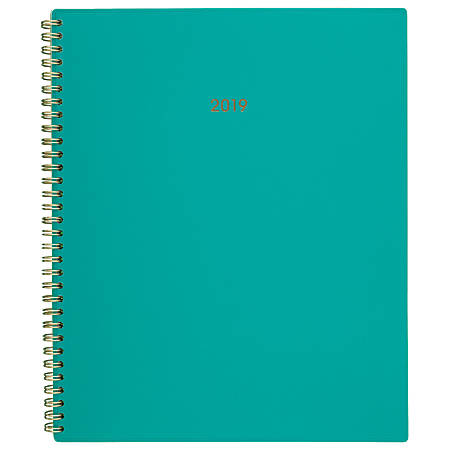 """Cambridge® Color Bar Weekly/Monthly Planner, 8 1/2"""" x 11"""", Teal, January to December 2019"""