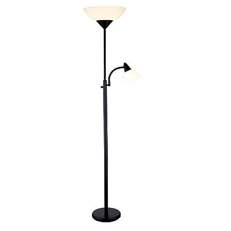 "Adesso® Piedmont Combo Floor Lamp, 71""H, White Shade/Black Base"