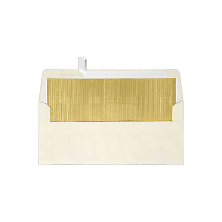 """LUX Foil-Lined Square-Flap Envelopes With Peel & Press Closure, #10, 4 1/8"""" x 9 1/2"""", Natural/Gold, Pack Of 250"""