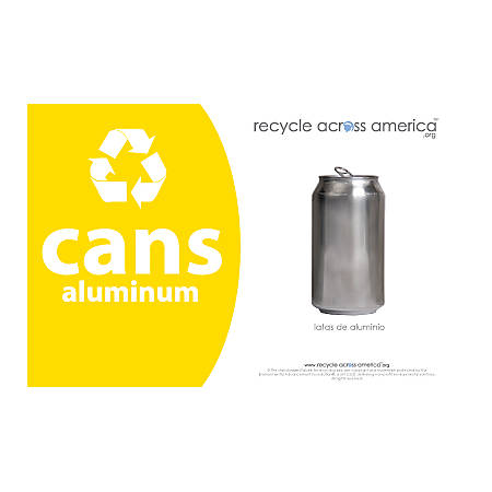 """Recycle Across America Aluminum Cans Standardized Recycling Labels, CANS-5585, 5 1/2"""" x 8 1/2"""", Yellow"""
