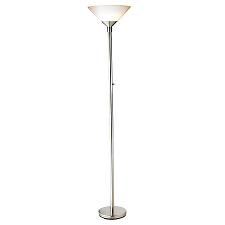 """Adesso® Aries Floor Lamp, 73""""H, White/Silver"""
