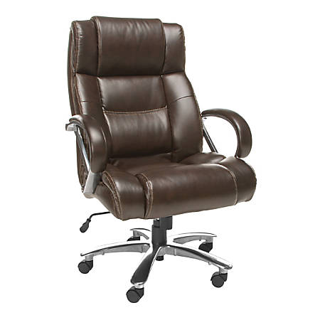 """OFM Avenger Big & Tall Bonded Leather High-Back Chair, 49""""H x 30""""W x 32""""D, Brown/Chrome"""
