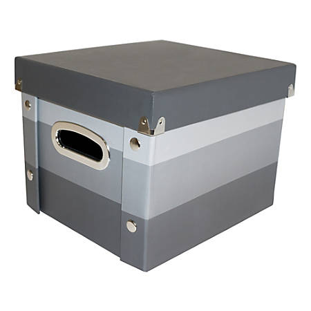 """Snap-N-Store™ Select Storage Box, 11-1/4"""" x 2"""" x 10"""", 50% Recycled, Cool Gray/Stripe"""